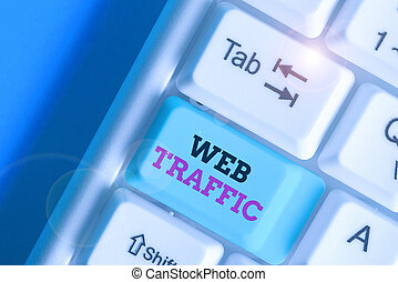 Handwriting text writing Web Traffic. Concept meaning the amount of data sent and received by visitors to a website.