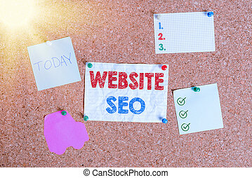 Handwriting text writing Website Seo. Concept meaning tactics used to increase the amount of visitors to a website Corkboard color size paper pin thumbtack tack sheet billboard notice board.