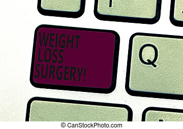 Handwriting text writing Weight Loss Surgery. Concept meaning do on stomach intestines to help demonstrating extreme obesity Keyboard key Intention to create computer message pressing keypad idea.