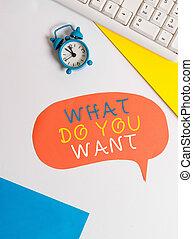 Handwriting text writing What Do You Want. Concept meaning used for offering something to someone or asking their need Flat lay with copy space on bubble paper clock and paper clips.