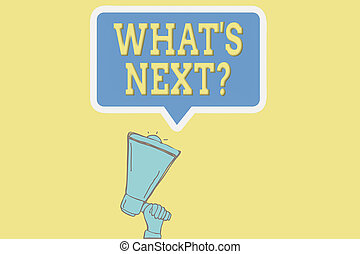 Handwriting text writing Whats Next Question. Concept meaning asking an individual about his coming actions or behaviors Hu analysis Hand Holding Upward Megaphone and Blank Speech Bubble with Border.