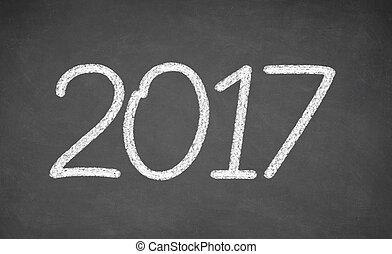 handwritten 2017 with white chalk - 2017 - handwritten with...