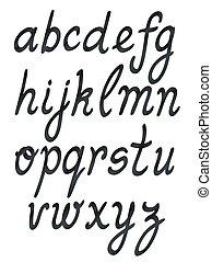 handwritten abc set. black on white vector