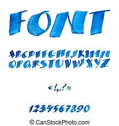 handwritten, akwarela, alfabet, z, takty muzyczne, i, symbols.