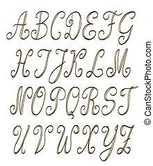 handwritten alphabet set on white. vector