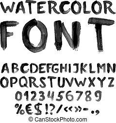 Handwritten black watercolor alphabet with numbers and symbols. Vector