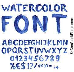 Handwritten blue watercolor alphabet with numbers and...