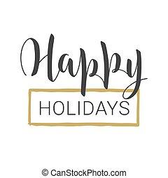handwritten , card., holidays., ευτυχισμένος , γράμματα , χαιρετισμός , φόρμα