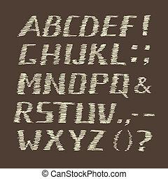 Handwritten Chalk Alphabet on Brown Background