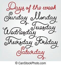 Handwritten days of the week: Sunday, Monday, Tuesday,...