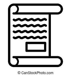 Handwritten document icon, outline style