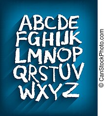 Handwritten English alphabet and a blue background