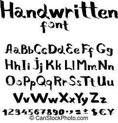 Handwritten font with a flat brush