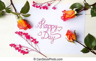 Happy day card with red roses