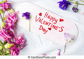 Happy Valentines day card with flowers on white