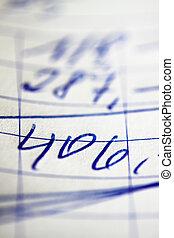 Handwritten invoice accounting document - A handwritten...