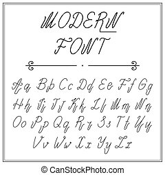Handwritten lettering font alphabet made in vector  font
