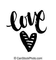 Handwritten lettering word Love with red heart isolated on white background
