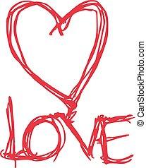 Handwritten LOVE with heart