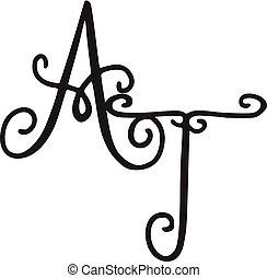 Handwritten monogram AT icon, logo with swirls isolated on white background