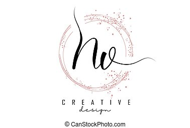Handwritten NV N V letter logo with sparkling circles with pink glitter. Decorative vector illustration with N and V letters.