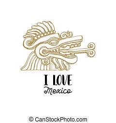 Handwritten phrase I Love Mexico with drawn Aztec bas...