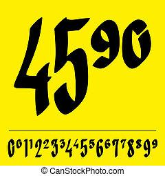 Handwritten price tag figures