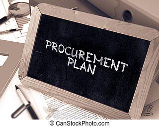 Handwritten Procurement Plan on a Chalkboard.