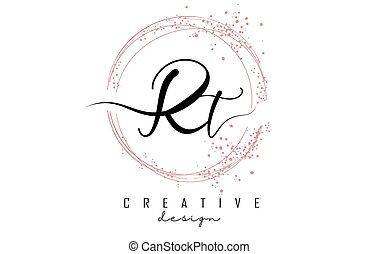 Handwritten Rt R t letter logo with sparkling circles with pink glitter. Decorative vector illustration with R and t letters.