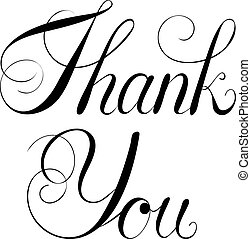 Handwritten script Thank You isolated on white