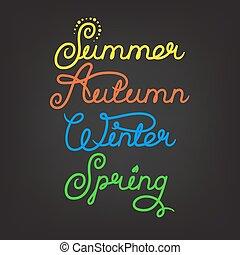 Handwritten seasons of the year