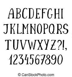 Handwritten Simple Font Hand Drawn Sketch Alphabet