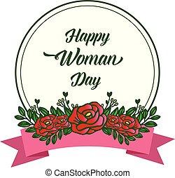 handwritten, tło., ułożyć, czerwony, dzień, rocznik wina, róża, kobieta, szczęśliwy, wektor, kwiat