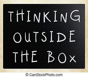 handwritten, tablica, myślenie, wyrażenie, boks, biały, zewnątrz, kreda