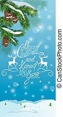 Handwritten text Merry Christmas and happy New Year, holidays ca