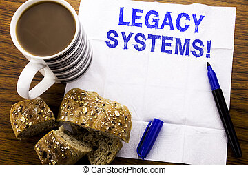 Handwritten text showing Legacy Systems. Business concept for Upgrade SOA Application written on tissue paper on the wooden background with pen bread healthy coffee in the restaurant