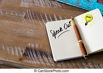 Handwritten text Speak Out