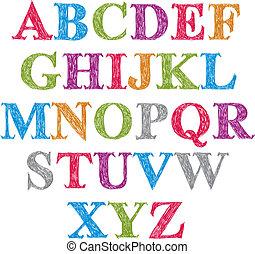 Handwritten vector script, alphabet letters set.