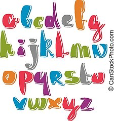 Handwritten vector script, alphabet