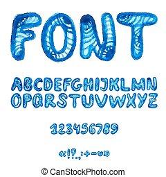 Handwritten watercolor alphabet with symbols.