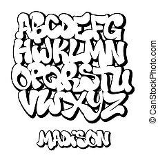 handwritten, wektor, illustration., ulica, graffiti, typografia, chrzcielnica