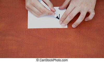 Handwritten word Money on white paper sheet
