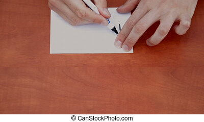 Handwritten words Right Off on white paper sheet