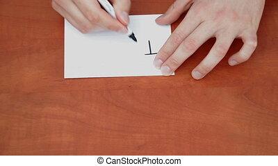 Handwritten words Top Secret on white paper sheet
