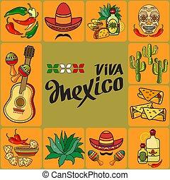 Handwritten words Viva Mexico. Vector Mexican icon set.