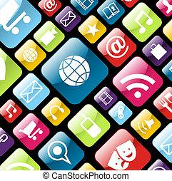 handy, app, ikone, hintergrund