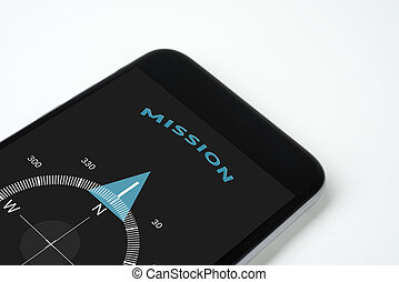 handy compass with text and arrow Mission