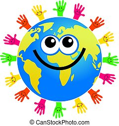happy cartoon world globe surrounded by hands in different colors with smiling faces