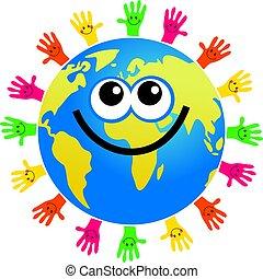 handy globe - happy cartoon world globe surrounded by hands...