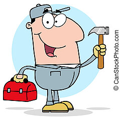 Handy Man With Tool Box - Construction Worker With Hammer...